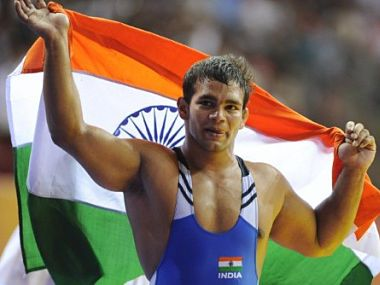 CGAMES-2010-INDIA-WRESTLING-IND-RSA-CAN-MEDALS